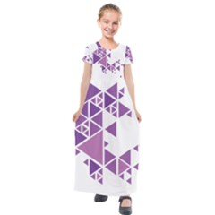 Art Purple Triangle Kids  Short Sleeve Maxi Dress by Mariart