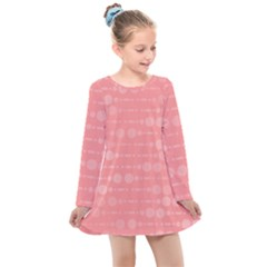 Background Polka Dots Pink Kids  Long Sleeve Dress by Mariart