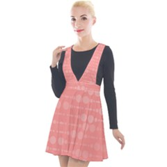 Background Polka Dots Pink Plunge Pinafore Velour Dress