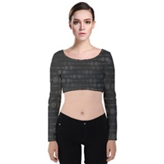 Background Polka Dots Velvet Long Sleeve Crop Top by Mariart