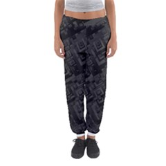 Black Rectangle Wallpaper Grey Women s Jogger Sweatpants