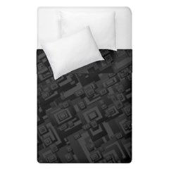 Black Rectangle Wallpaper Grey Duvet Cover Double Side (single Size) by Mariart