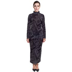 Black Rectangle Wallpaper Grey Turtleneck Maxi Dress by Mariart