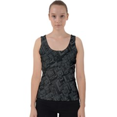 Black Rectangle Wallpaper Grey Velvet Tank Top by Mariart