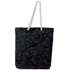 Black Rectangle Wallpaper Grey Full Print Rope Handle Tote (large)