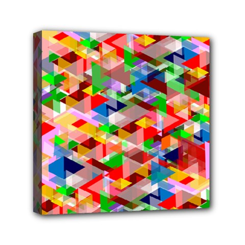 Background Triangle Rainbow Mini Canvas 6  X 6  (stretched) by Mariart