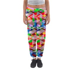 Background Triangle Rainbow Women s Jogger Sweatpants