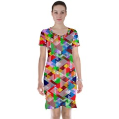 Background Triangle Rainbow Short Sleeve Nightdress