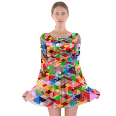 Background Triangle Rainbow Long Sleeve Skater Dress