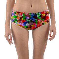 Background Triangle Rainbow Reversible Mid Waist Bikini Bottoms by Mariart