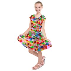 Background Triangle Rainbow Kids  Short Sleeve Dress by Mariart