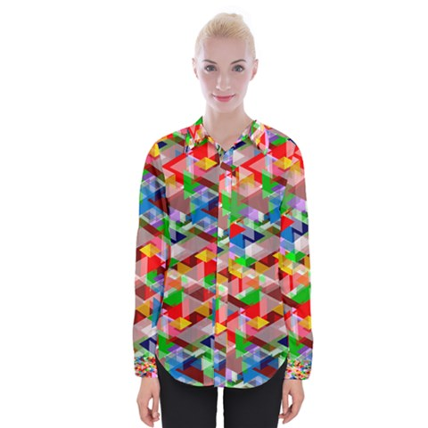 Background Triangle Rainbow Womens Long Sleeve Shirt by Mariart
