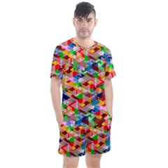 Background Triangle Rainbow Men s Mesh Tee And Shorts Set by Mariart