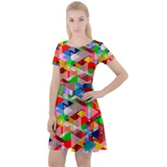 Background Triangle Rainbow Cap Sleeve Velour Dress  by Mariart