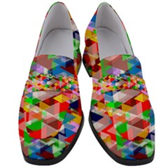 Background Triangle Rainbow Women s Chunky Heel Loafers by Mariart