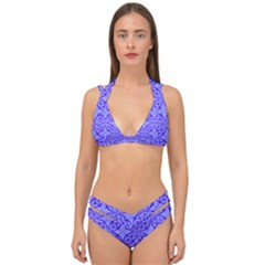 Blue Curved Line Double Strap Halter Bikini Set by Mariart