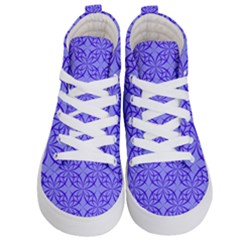 Blue Curved Line Kids  Hi Top Skate Sneakers