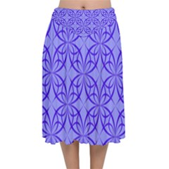 Blue Curved Line Velvet Flared Midi Skirt by Mariart