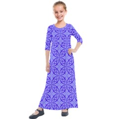 Blue Curved Line Kids  Quarter Sleeve Maxi Dress by Mariart
