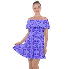 Blue Curved Line Off Shoulder Velour Dress by Mariart