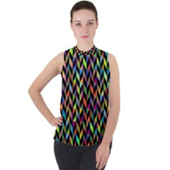 Abstract Geometric Mock Neck Chiffon Sleeveless Top by Mariart