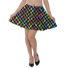 Abstract Geometric Velvet Skater Skirt