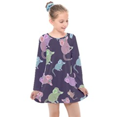 Animals Mouse Kids  Long Sleeve Dress by Mariart