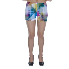 Abstract Background Skinny Shorts