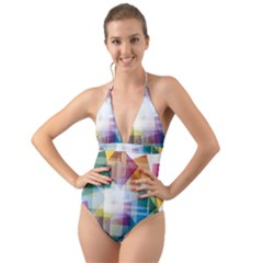 Abstract Background Halter Cut-out One Piece Swimsuit by Mariart