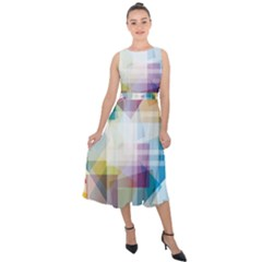 Abstract Background Midi Tie Back Chiffon Dress