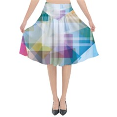 Abstract Background Flared Midi Skirt