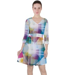 Abstract Background Ruffle Dress