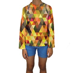 Abstract Geometric Triangles Shapes Kids  Long Sleeve Swimwear by Mariart
