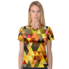 Abstract Geometric Triangles Shapes V Neck Sport Mesh Tee