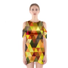 Abstract Geometric Triangles Shapes Shoulder Cutout One Piece Dress