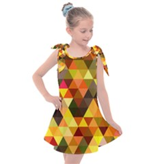 Abstract Geometric Triangles Shapes Kids  Tie Up Tunic Dress by Mariart