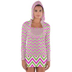 Abstract Chevron Long Sleeve Hooded T-shirt by Mariart