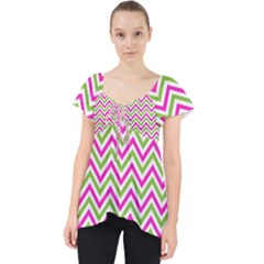 Abstract Chevron Lace Front Dolly Top