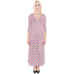 Abstract Chevron Quarter Sleeve Wrap Maxi Dress by Mariart