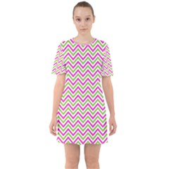 Abstract Chevron Sixties Short Sleeve Mini Dress