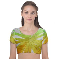 Abstract Background Tremble Render Velvet Short Sleeve Crop Top  by Mariart