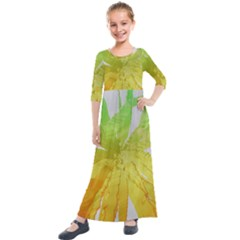 Abstract Background Tremble Render Kids  Quarter Sleeve Maxi Dress