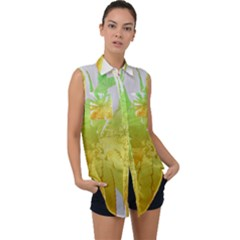 Abstract Background Tremble Render Sleeveless Chiffon Button Shirt by Mariart