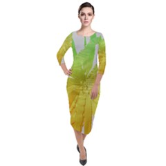 Abstract Background Tremble Render Quarter Sleeve Midi Velour Bodycon Dress by Mariart