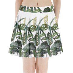 Botanical Illustration Palm Leaf Pleated Mini Skirt