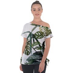 Botanical Illustration Palm Leaf Tie Up Tee by Mariart