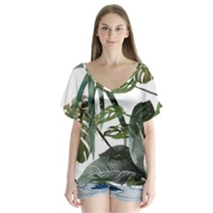 Botanical Illustration Palm Leaf V Neck Flutter Sleeve Top