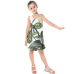 Botanical Illustration Palm Leaf Kids  Sleeveless Dress by Mariart