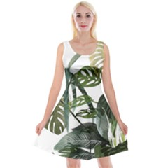 Botanical Illustration Palm Leaf Reversible Velvet Sleeveless Dress