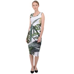 Botanical Illustration Palm Leaf Sleeveless Pencil Dress